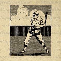 Printable Baseball Player Image Digital Sports Download Baseball Graphic Vintage Clip Art Jpg Png Eps 18x18 HQ 300dpi No.3684 @ vintageretroantique.etsy.com