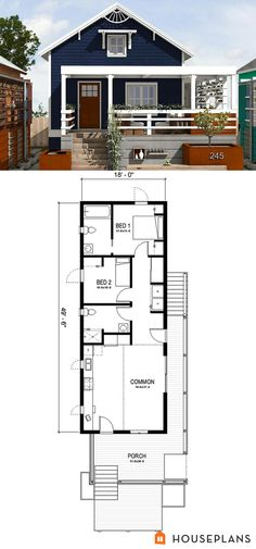 Green New Orleans cottage. 891sft plan #497-23 7 mil pins somente de casas