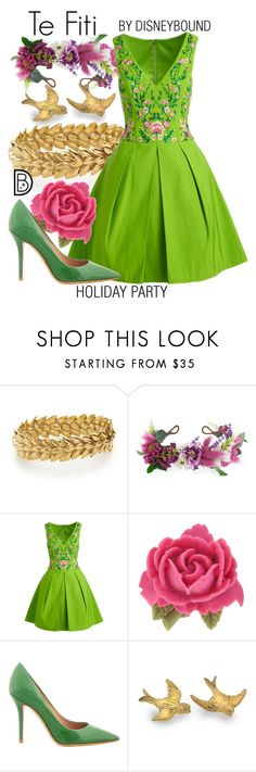 """Te Fiti"" by leslieakay ❤ liked on Polyvore featuring Aurélie Bidermann, Rock 'N Rose, Notte by Marchesa, Tarina Tarantino, Salvatore Ferragamo, disney, disneybound, disneycharacter and holidaystyle"
