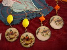 A walk in the country  art illustrated glass earrings by eltsamp, $28.00