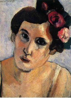 'Woman's Head, Flowers in Her Hair', c.1918 - Matisse