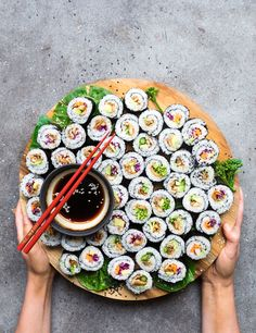 31 Easy Vegan Sushi Recipes (Healthy, Homemade) Have you been craving seafood? These Vegan Sushi Recipes are healthy, easy and are made entirely from plants! Filled with simple vegetables, Asian Recipes, Healthy Recipes, Vegetarian Recipes, Eat Healthy, Vegan Gluten Free, Food Inspiration, Food Photography, Stuffed Mushrooms, Veggies
