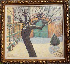 Norbert Jawurek, Garten im Schnee, Jugendstil, Öl auf Leinen, gerahmt