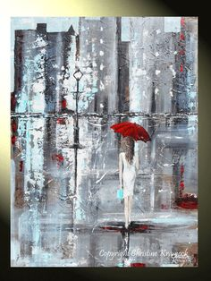 """A Trip to Tiffany's"" Original #Art Abstract #Painting Girl Woman Red Umbrella in Rain Contemporary Palette Knife City Shopping Textured white dress grey Tiffany Blue #home wall decor by collected artist, Christine Krainock"