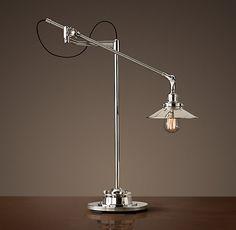 20th C. Factory Filament Metal Shade Task Lamp - Polished Nickel restoration hardware