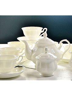 ufengkeWhite Ceramic Bone China 15 Piece Tea Set Tea Service Coffee Set ❤ Ufingo
