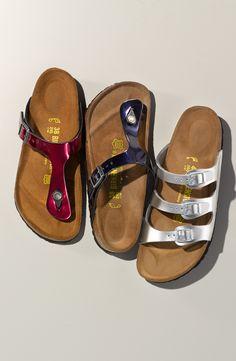 Comfy and cute! Metallic Birkenstock sandals.