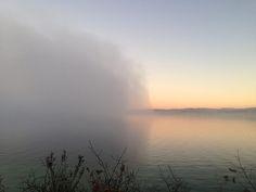 Lake Michigan fog bank rolled into Leland around 3:30 today - Here it is at sunset – 5:30 crossing Lake Leelanau