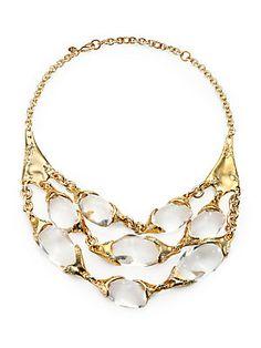 Alexis Bittar Lucite & Crystal Multi-Row Bib Necklace/Light Goldtone
