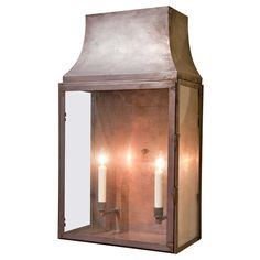 French Copper Outdoor Two-Light Wall Midi Railway Station Lantern ...