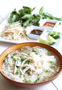 Boost your mood with a bit of comfort food: Traditional Pho Ga Vietnamese Chicken Noodle Soup. This pho is way less intimidating to make than classic beef pho. Vietnamese Soup, Vietnamese Recipes, Asian Recipes, Healthy Recipes, Ethnic Recipes, Vietnamese Cuisine, Pho Ga Recipe, Chicken Pho Soup, Soup Recipes