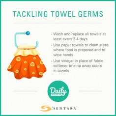 The most germ infested places in your home are the towels in your kitchen and bathroom. Daily Health Tips, Towels, Door Handles, Improve Yourself, Cleaning, Bathroom, Places, Kitchen, Home