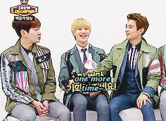 Onew, Taemin, & Minho (SHINee).  Maybe Taemin's unconscious thigh-touch extends to legs as well.  (.gif set).