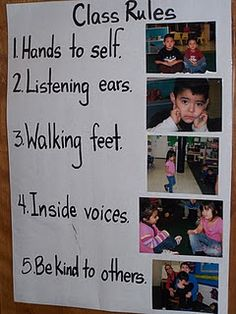 I like how she used pictures of the children following the rules to enforce them...