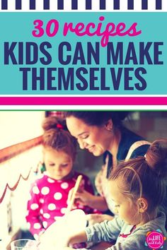 Cooking with Kids? Get your kids in the kitchen with these 30 easy recipes for kids! Super simple recipes that your kids can make themselves. Also great first-time recipes for cooking with toddlers. Recipes Kids Can Make, Easy Meals For Kids, Toddler Meals, Healthy Snacks For Kids, Kids Meals, Kid Snacks, Simple Recipes For Kids, Kid Recipes, Kids Cooking Recipes Easy