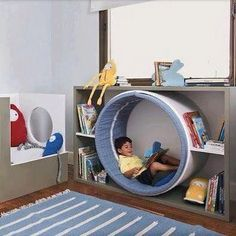 Fun idea that can be dressed up as a space worm hole or a rabbit hole, centre of. Fun idea that can be dressed up as a space worm hole or a rabbit hole, centre of a flower, any number of ideas to bring a reading nook into playroom. Kids Corner, Reading Corner Kids, Toy Rooms, Kids Rooms, Children Playroom, Room Kids, Kids Room Design, Kids Bedroom Designs, Kid Spaces
