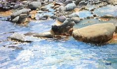 """Abe Toshiyuki  """" Water reflection  """"  watercolor on waterford paper 26×44cm"""