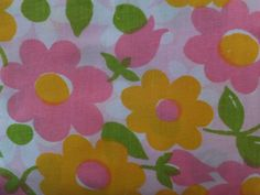 VINTAGE 1960's PINK ORANGE FLOWER POWER FITTED DOUBLE BED SHEET