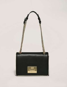 black Love Moschino Leather Small Cross Body Bag