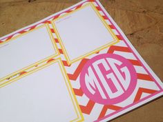 Chevron patterned customized Desk Pads. $38.00, via Etsy.