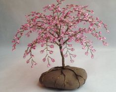 Cherry Blossom Tree Sculpture, Beaded,  Decoration, Unique gift, Glass beads, Pink, Custom made