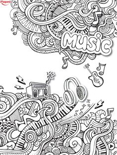 Love this music doodle coloring sheets, adult coloring pages, coloring books, doodle art Love Coloring Pages, Adult Coloring Book Pages, Coloring Sheets, Coloring Books, Kids Coloring, Guitar Doodle, Music Doodle, Doodle Doodle, Music Drawings