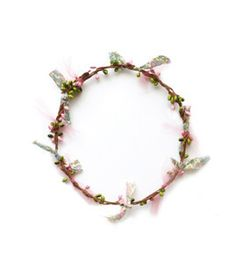 Woodstock London  Flower Garland Pink And White: Woodstock London flower garland. Floral wreath made from hand-crafted twisted paper wire and small painted foam buds in pink and green. Liberty fabric and tulle detail comes in soft cotton bag with matching Liberty tie