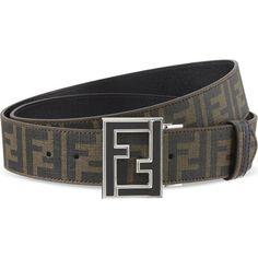 FENDI Zucca reverse belt ($420) ❤ liked on Polyvore featuring accessories, belts, fendi belt, reversible belt and fendi
