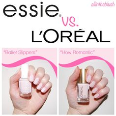 When I bought L'Oreal's 'How Romantic' nail polish I didn't even realize that it was so identical to Essie's 'Ballet Slippers' until I stored . Nail Polish Dupes, Shellac Manicure, Nail Polish Colors, Manicure Ideas, Diy Nails, Manicures, Gel Polish, Black Nail Tips, Maybelline