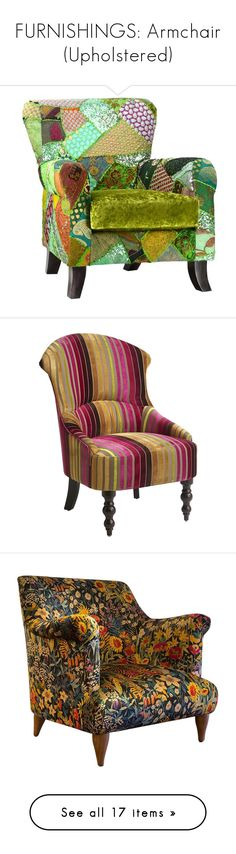 """""""FURNISHINGS: Armchair (Upholstered)"""" by beneath-the-mystic-moon ❤ liked on Polyvore featuring chair, home, furniture, chairs, accent chairs, pattern, striped armchair, multi coloured chairs, patterned arm chair and padded chairs"""