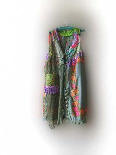 REDUCED - Bellissimo Jacket, Long, Italian, Vintage, Flowers, Green, Orange, Pink, Purple, Bohemian