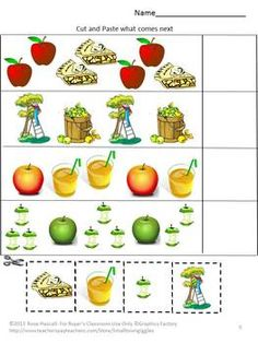 An Apple a Day Cut and Paste Worksheet Set-Pre-K, K, Special Education. Fall is the time for picking apples fresh off the tree, making apple pie and having fun at fall apple festivals. Students can continue that fun with this Apple a Day cut and paste worksheet set. It consists of 20 pages using apples graphics.