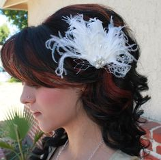 Bridal White Curly Goose Feather and Ostrich feathers Boutique Hair Clip Fascinator w Pearl and Rhinestone accents Photp Prop. $34.99, via Etsy.