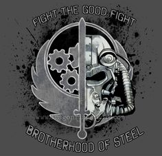 I've submerged a lot of my life into Fallout 4 recently, but I decided to take some time to make a bit of fan art for it too! Brotherhood of Steel: The Good Fight Star Wars Poster, Star Wars Art, Fallout Bos, Fallout Brotherhood Of Steel, Fallout Theme, Fallout Tattoo, Batman Tattoo, Gaming Tattoo, Fallout New Vegas