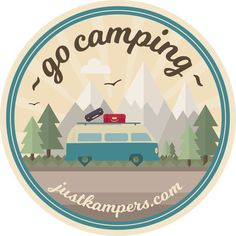 Sticker design for Just Kampers. Go Camping, Sticker Design, Stickers, Tableware, Dinnerware, Dishes, Sticker, Decal