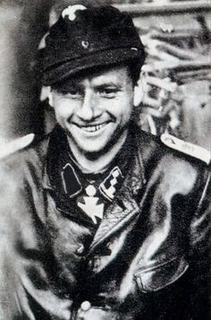 One of the myths of the German army, tank ace, Michael Wittmann smiling . It is credited with the destruction of 141 tanks and 132 anti-tank guns .