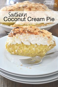 Southern Coconut Cream Pie | My husband's absolute favorite dessert is... coconut cream pie. For his birthday, I considered overnighting his favorite from Tina's in New Mexico. I snapped back to reality and made one instead. THIS coconut cream pie has nothing to hide -- no white flour, refined sugar, boxed pudding, or margarine. | TraditionalCookingSchool.com