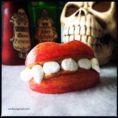 Apple Peanut Butter Marshmallow Fangs