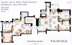 vh1:    imwithkanye:    15 Floor Plans Of TV's Best Homes  (A+ for the question mark in Monica and Rachel's apartment.)    Love this.
