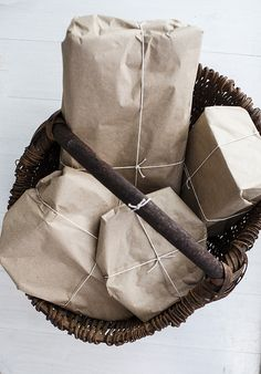 brown paper packages tied with with string. #simple #easyontheearth