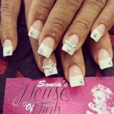 French white tip bling nails