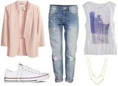 Love the outfit! Combine Boyfriend Jeans with a blazer and chucks to look elegant and sporty.