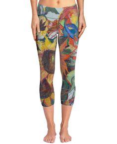 The Sunflower Garden yoga pants with original art by Avonelle Kelsey