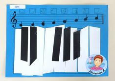 Knutselen met kleuters, toetsenbord met bijbehorende noten en notennamen, thema muziek, kleuteridee.nl.