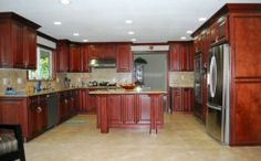 Cayenne Cognac Kitchen 1 with red painted island?