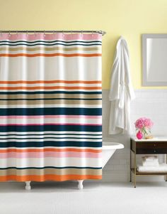 Kate Spade shower curtain.  For Kids Bathroom with Hale Navy BM paint on walls.