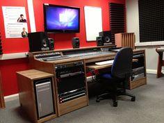 Avid C24 Mixer, Workstation, in real wood Walnut veneer and additional Mac Pro housing. Custom built to specific requirements. www.studioracks.co.uk
