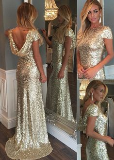 Prom Dresses,Gowns Prom,Evening Dresses,Prom Dresse on Line,Cap Sleeves Long Prom Dress with Train,Luxurious Gold Sequins,Long Prom Dresses, M8