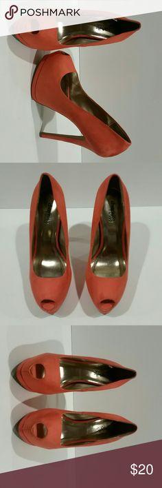 Charlotte Russe stilettos high heels platforms 6 Charlotte Russe high heels.  These shoes are a orange/ coral color. Charlotte Russe Shoes Heels