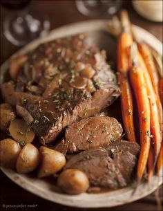 Sunday-Best Pot Roast - slow cooked in wine and stock until meltingly tender. Perfect with mashed potatoes.